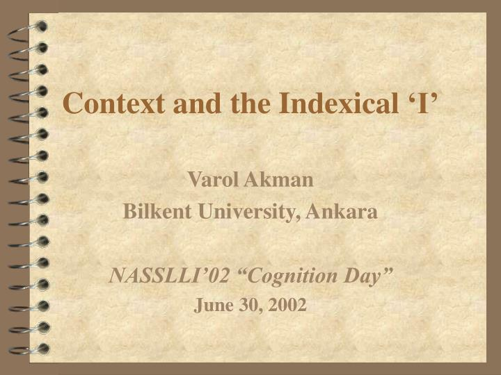 Context and the indexical i