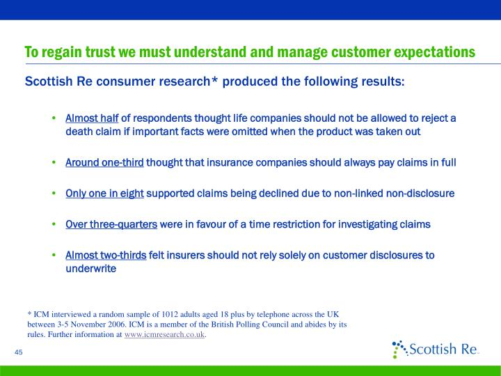 To regain trust we must understand and manage customer expectations