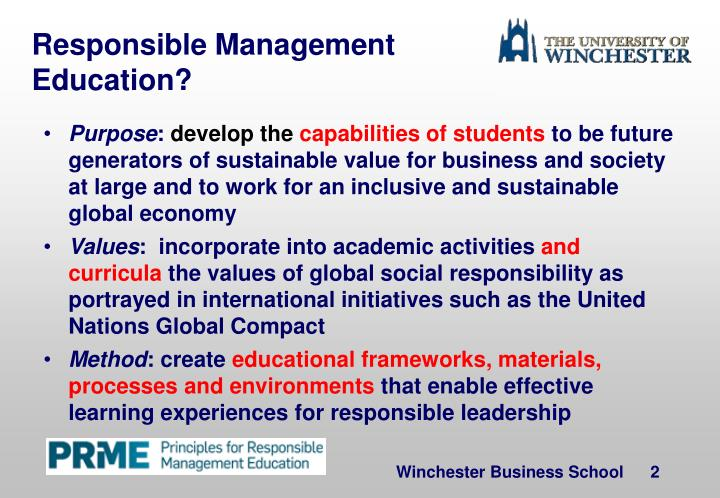 Responsible Management Education?