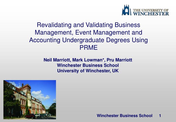 Revalidating and Validating Business Management, Event Management and Accounting Undergraduate Degre...