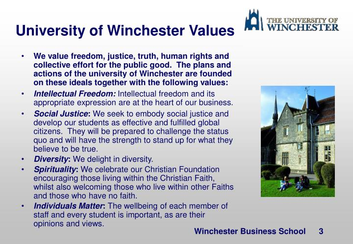 University of Winchester Values