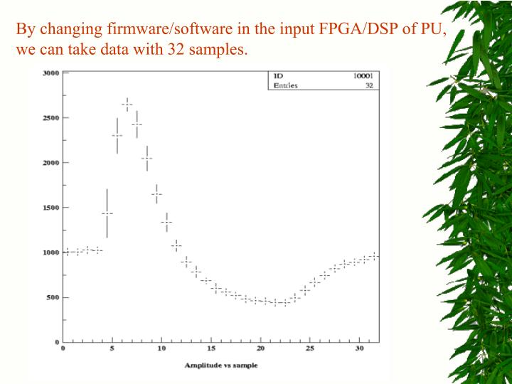 By changing firmware/software in the input FPGA/DSP of PU, we can take data with 32 samples.