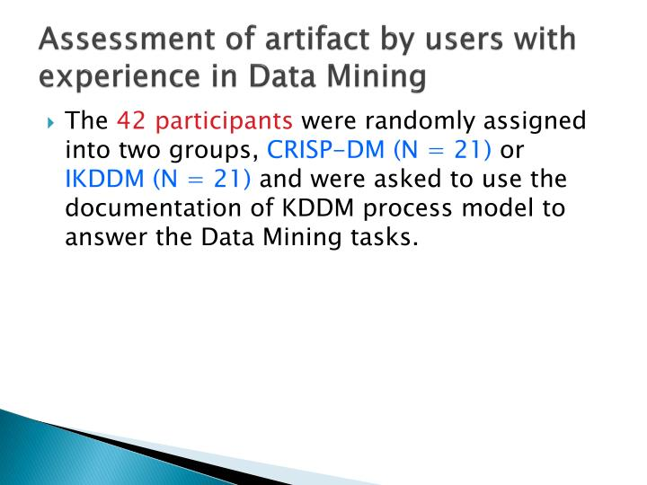 Assessment of artifact by users with experience in Data Mining