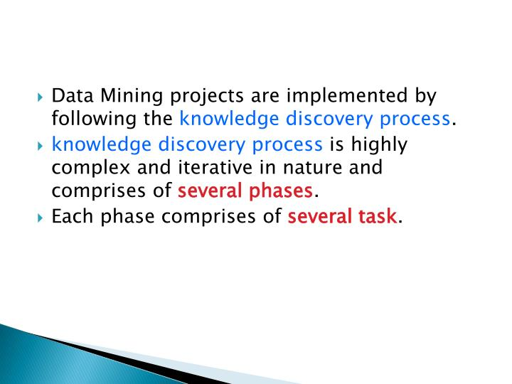 Data Mining projects are implemented by following the