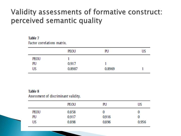 Validity assessments of formative construct: perceived semantic quality