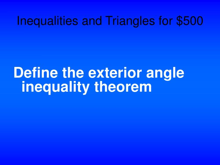 Inequalities and Triangles