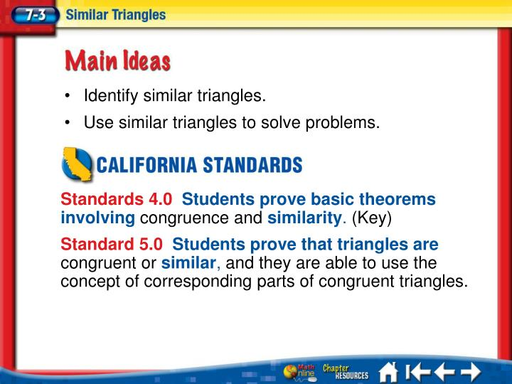 Identify similar triangles.