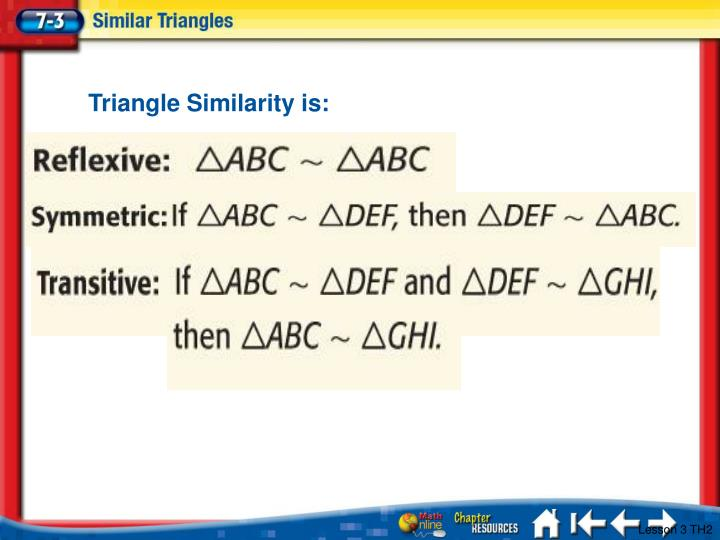 Triangle Similarity is: