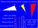 which of the following three triangles are similar