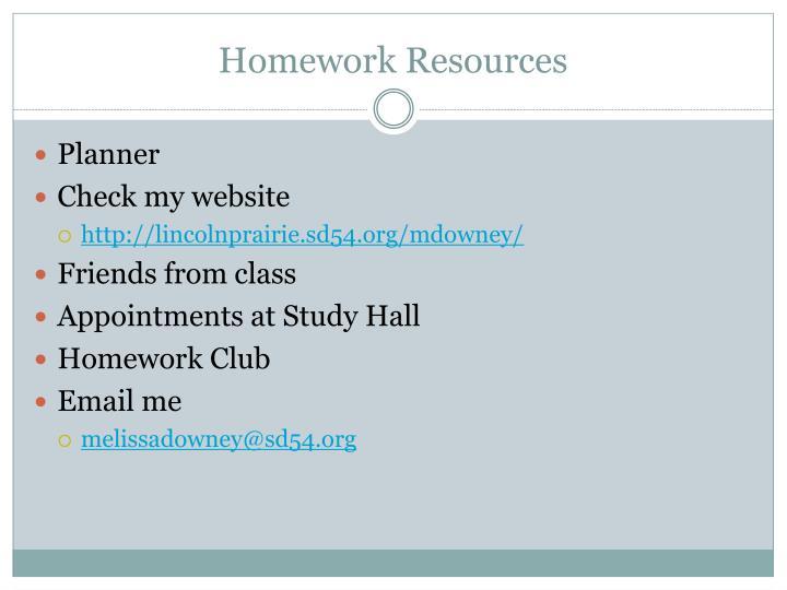 Homework Resources