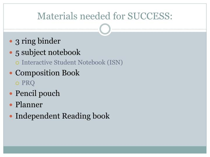 Materials needed for SUCCESS: