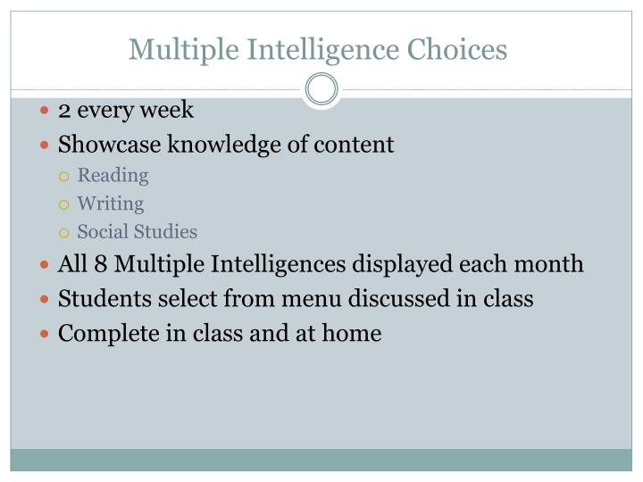 Multiple Intelligence Choices