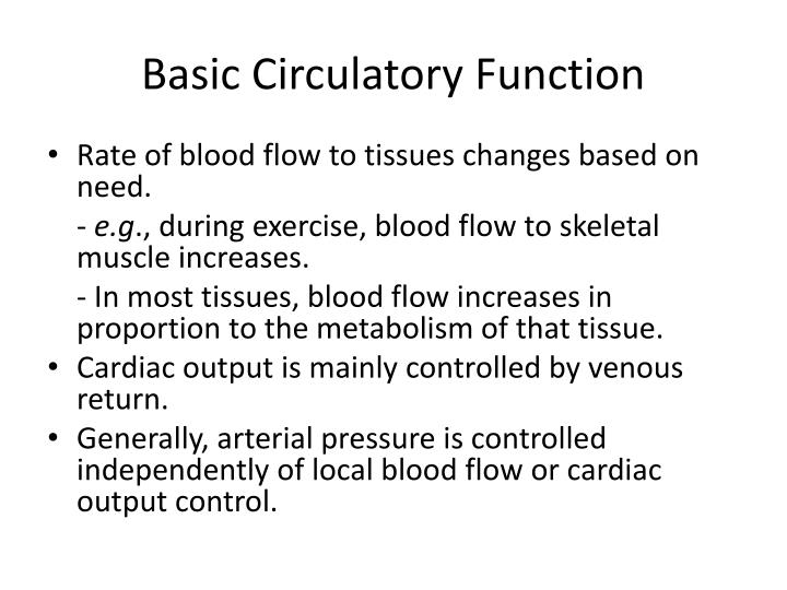 Basic Circulatory Function