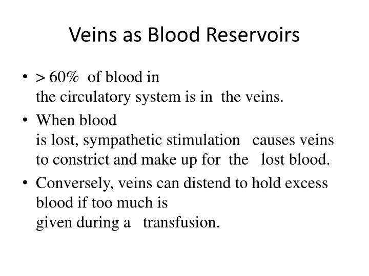Veins as Blood Reservoirs