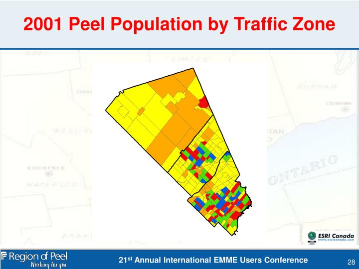 2001 Peel Population by Traffic Zone