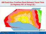 am peak hour freeflow road network travel time to highway 401 at yonge st