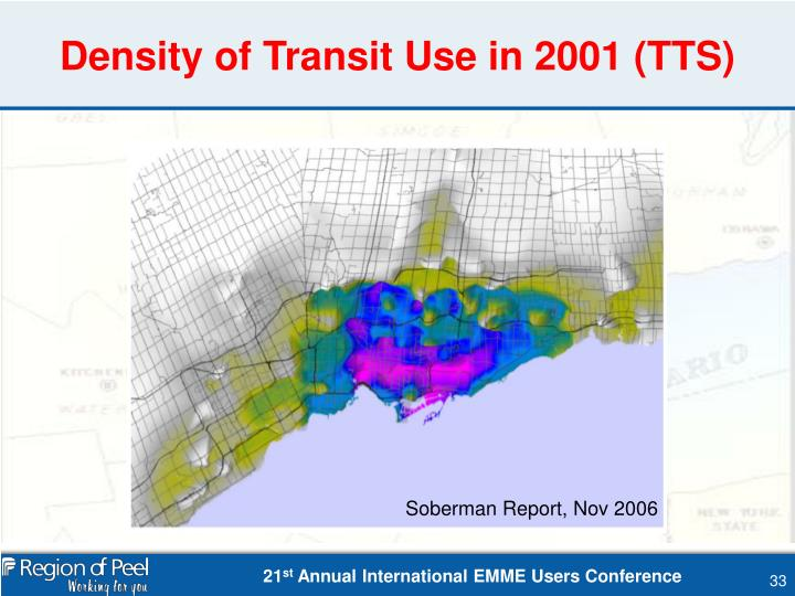 Density of Transit Use in 2001 (TTS)