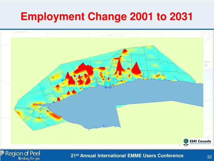 Employment Change 2001 to 2031