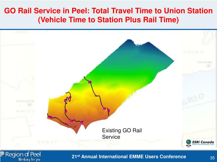 GO Rail Service in Peel: Total Travel Time to Union Station (Vehicle Time to Station Plus Rail Time)