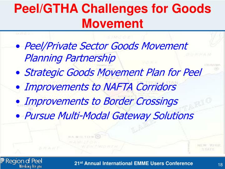 Peel/GTHA Challenges for Goods Movement