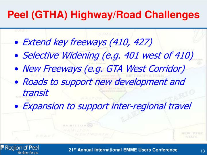 Peel (GTHA) Highway/Road Challenges