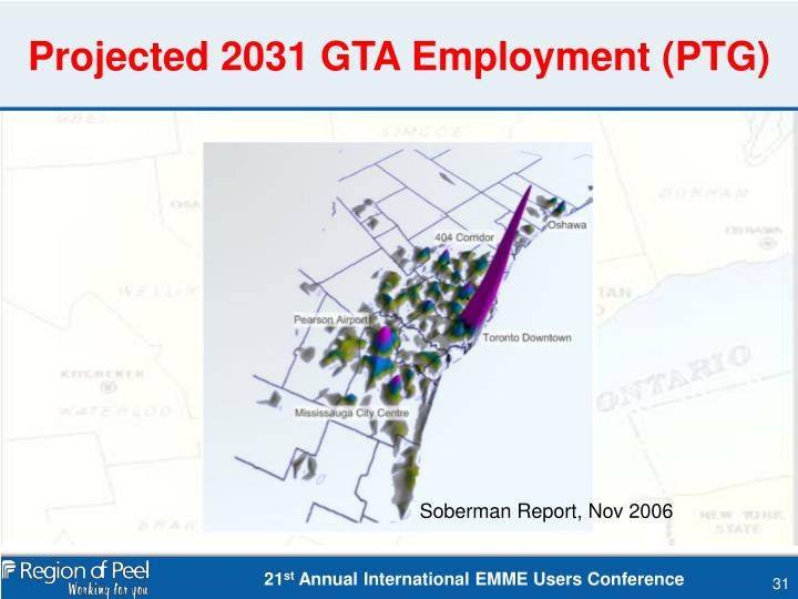Projected 2031 GTA Employment (PTG)