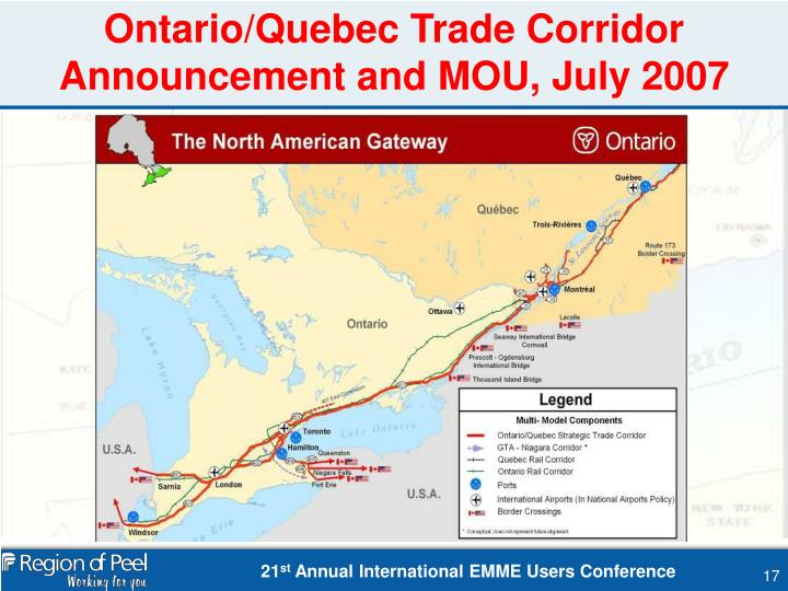 Ontario/Quebec Trade Corridor Announcement and MOU, July 2007
