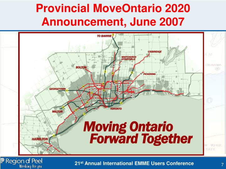 Provincial MoveOntario 2020 Announcement, June 2007