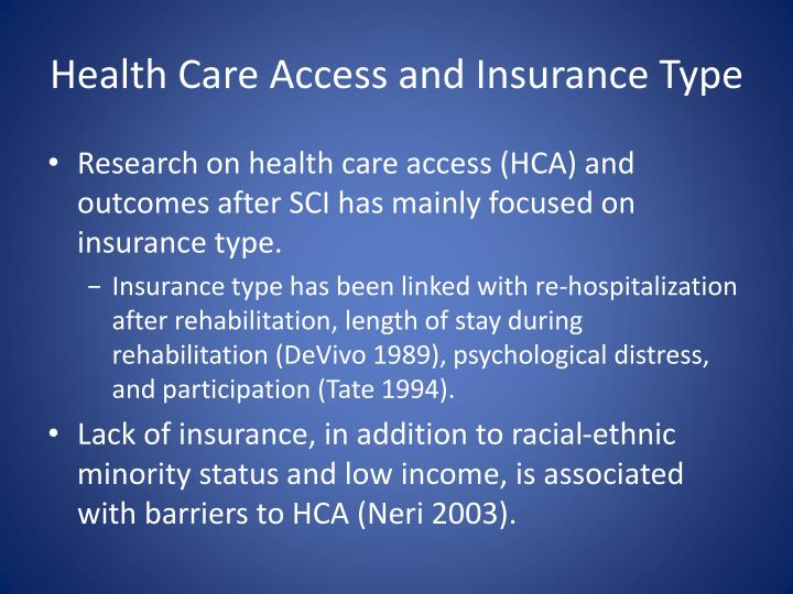 Health Care Access and Insurance Type