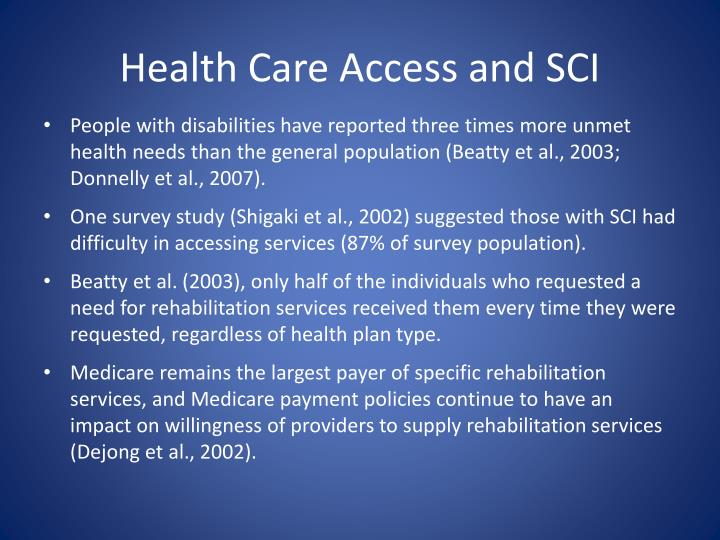 Health Care Access and SCI