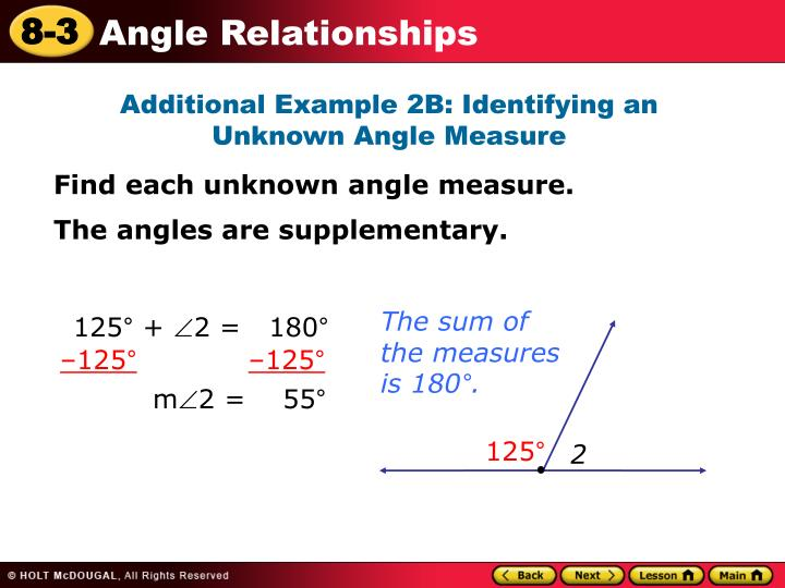 Additional Example 2B: Identifying an Unknown Angle Measure