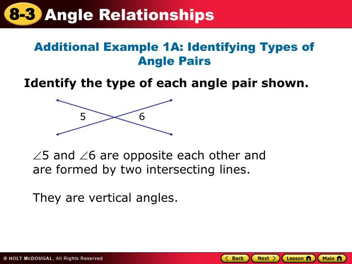 Additional Example 1A: Identifying Types of Angle Pairs