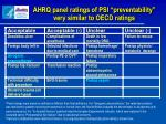 ahrq panel ratings of psi preventability very similar to oecd ratings