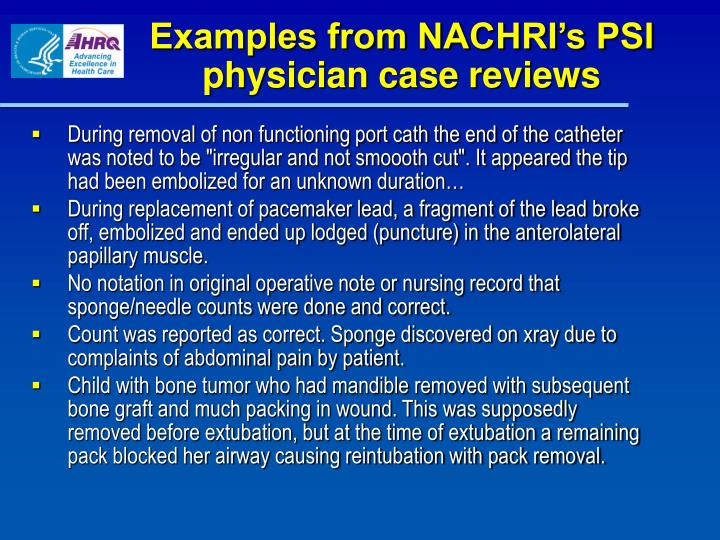 Examples from NACHRI's PSI physician case reviews