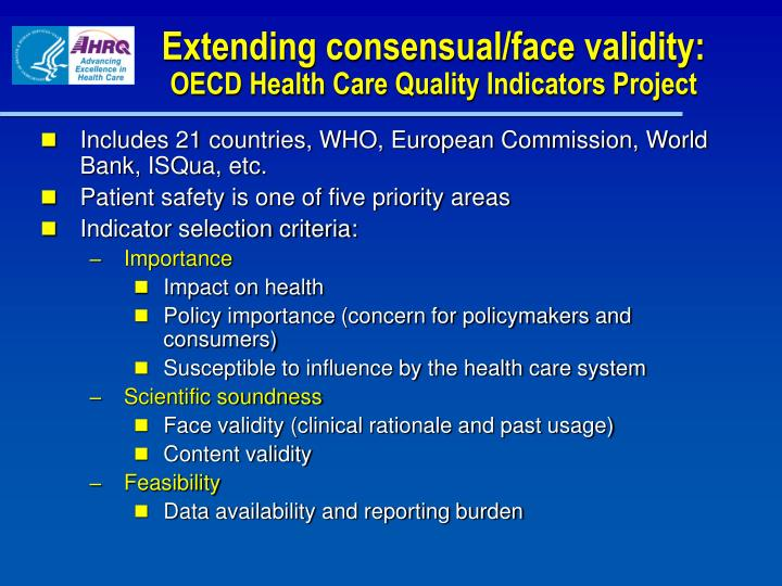Extending consensual/face validity: