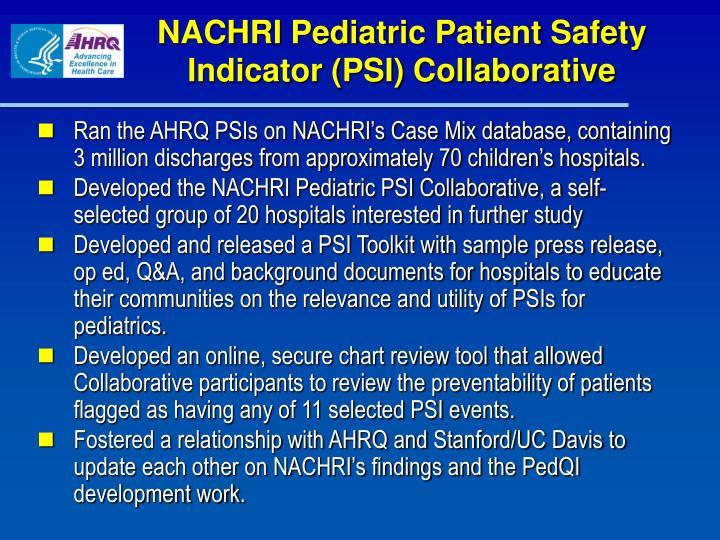 NACHRI Pediatric Patient Safety Indicator (PSI) Collaborative
