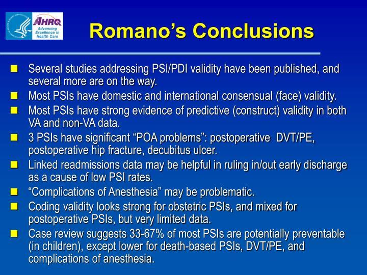 Romano's Conclusions