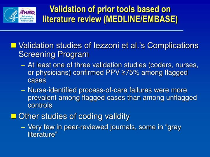 Validation of prior tools based on literature review (MEDLINE/EMBASE)