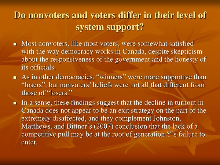 Do nonvoters and voters differ in their level of system support?