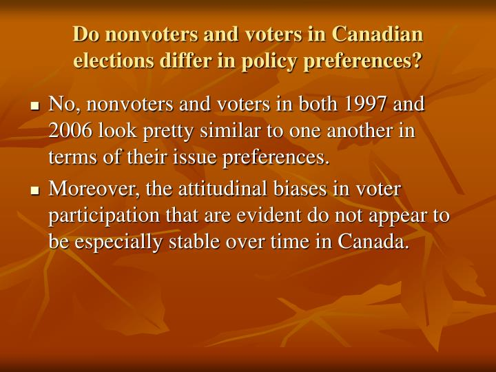 Do nonvoters and voters in Canadian elections differ in policy preferences?