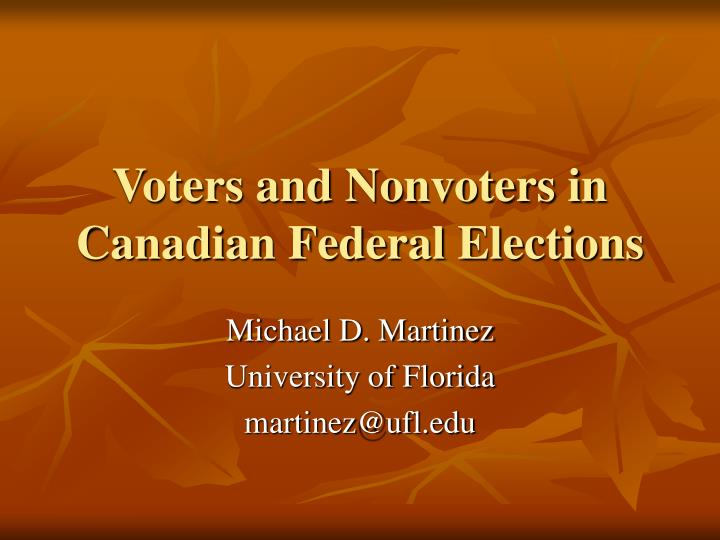 Voters and nonvoters in canadian federal elections