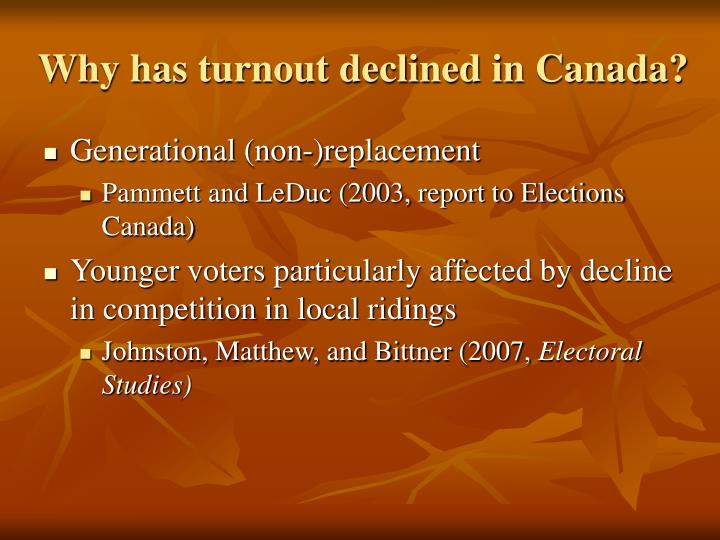 Why has turnout declined in canada