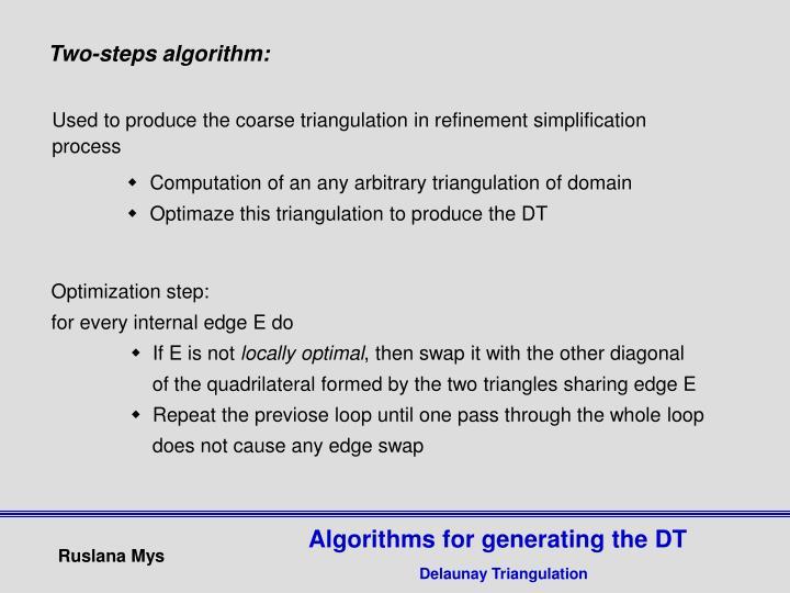 Two-steps algorithm: