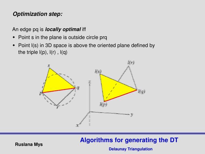 Optimization step: