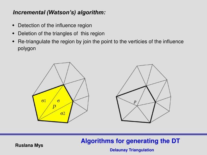 Incremental (Watson's) algorithm: