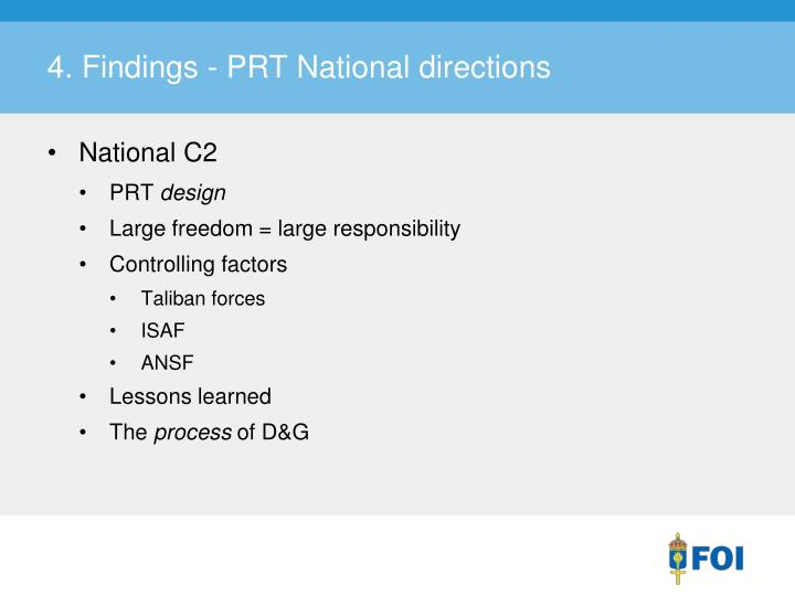 4. Findings - PRT National directions