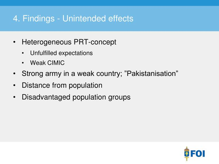 4. Findings - Unintended effects
