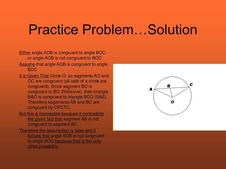 Practice Problem…Solution