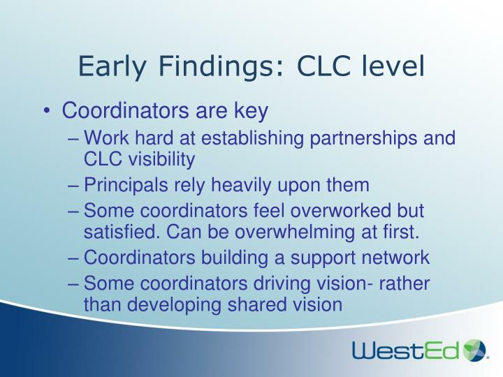 Early Findings: CLC level