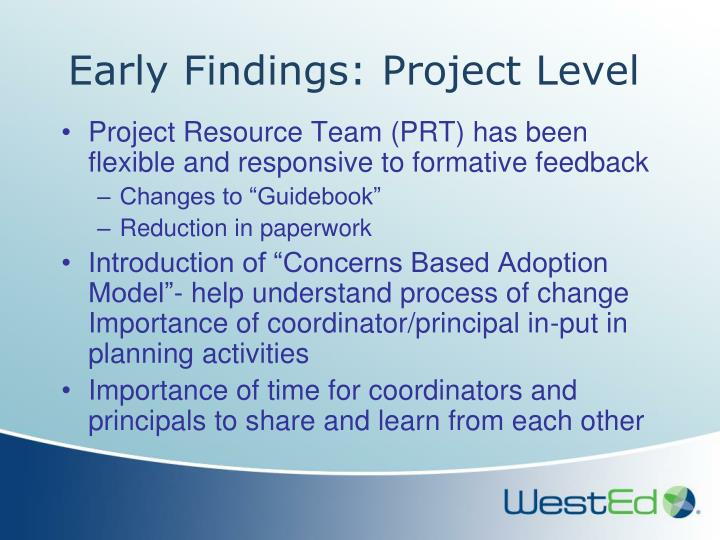 Early Findings: Project Level